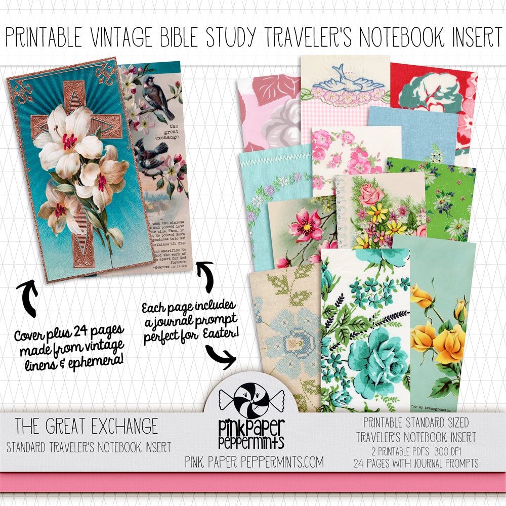 The Great Exchange - Standard Traveler's Notebook Insert - Vintage Easter - Pink Paper Peppermints