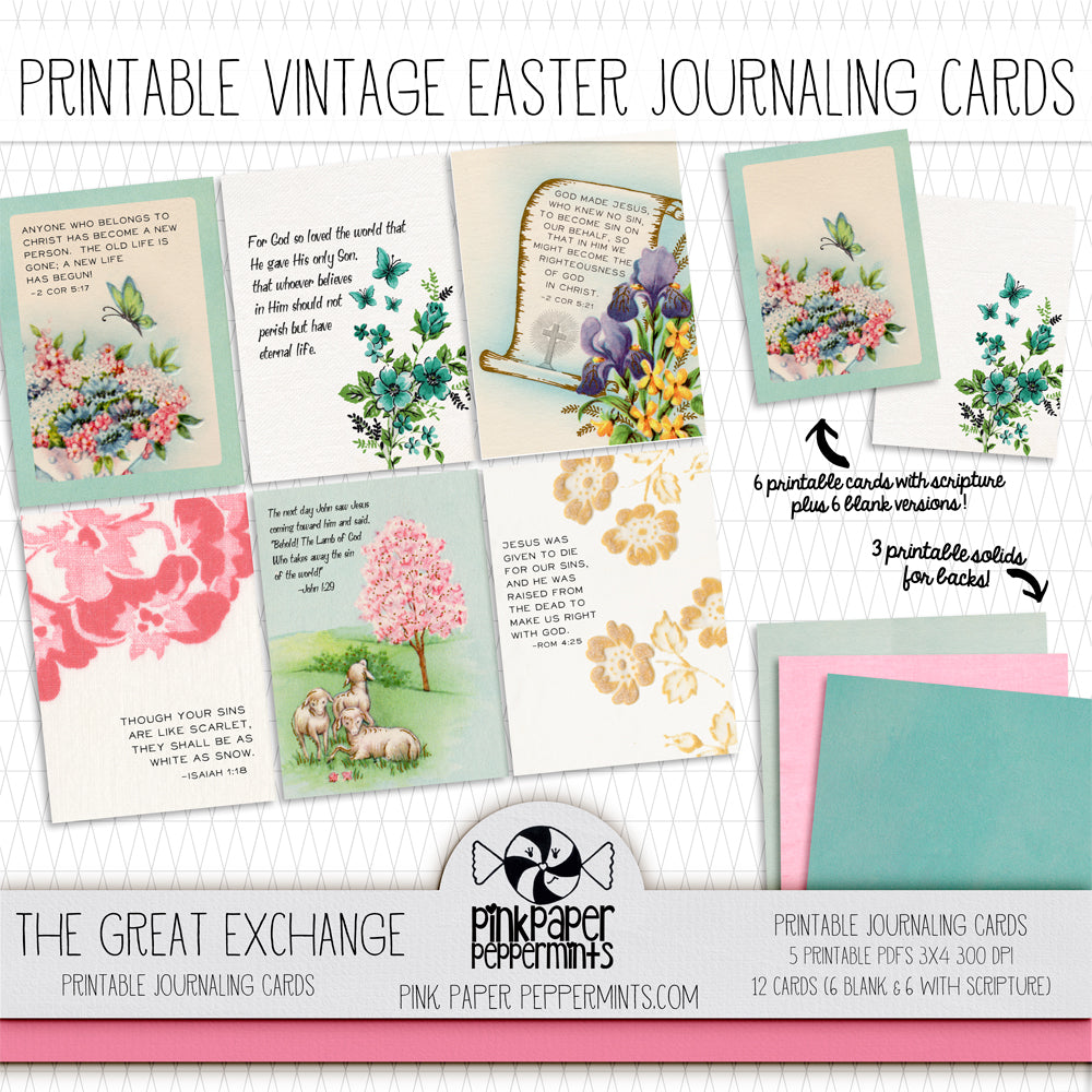 The Great Exchange - Vintage Easter/Spring Journaling Cards - Pink Paper Peppermints