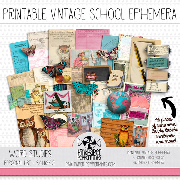 Word Studies - Printable Vintage Ephemera Kit for Junk Journals, Bible Journaling, Faith Journals and Prayer Journals