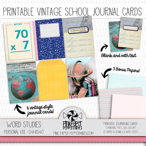 Word Studies - Journal Cards -Vintage School themed cards for Bible Journaling, Faith Art, Prayer Journals and Junk Journals
