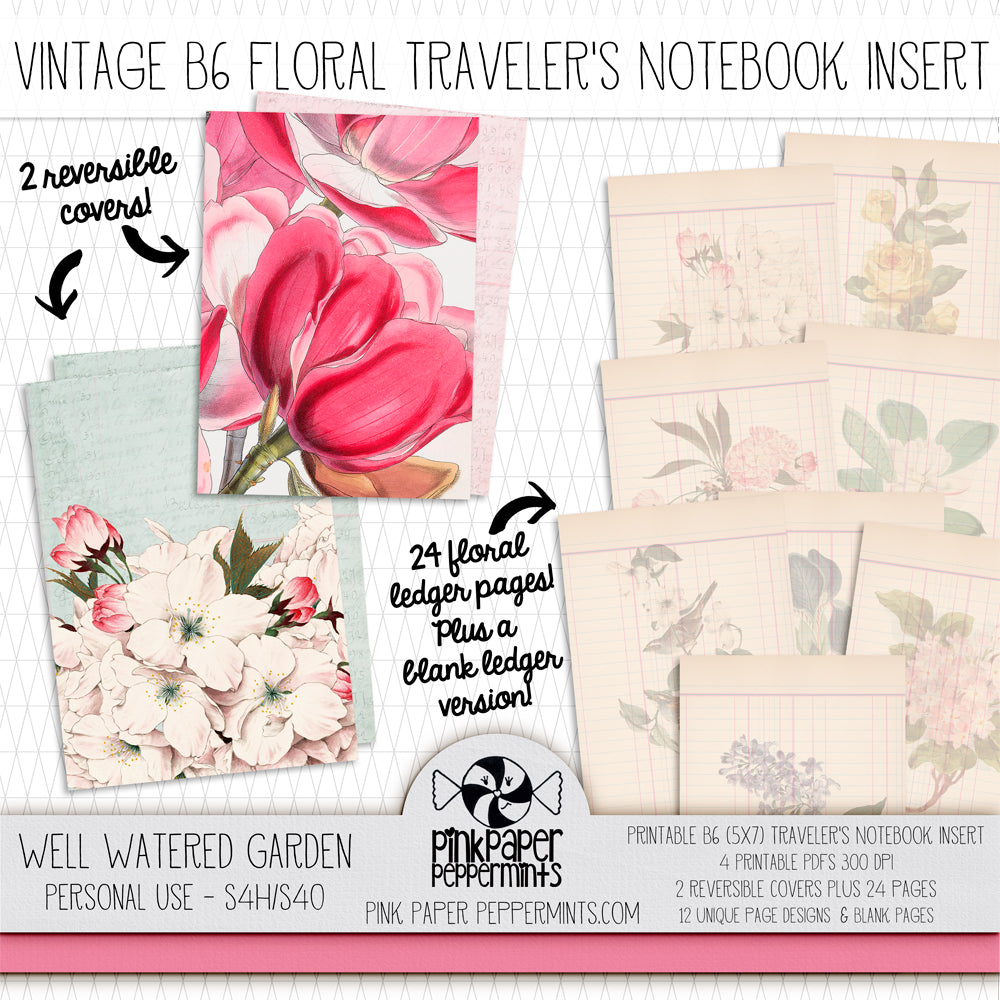 A Well Watered Garden Vintage Botanicals - B6 Vintage Printable Traveler's Notebook Insert - Perfect for Junk Journaling, Faith Journal or Prayer Journal