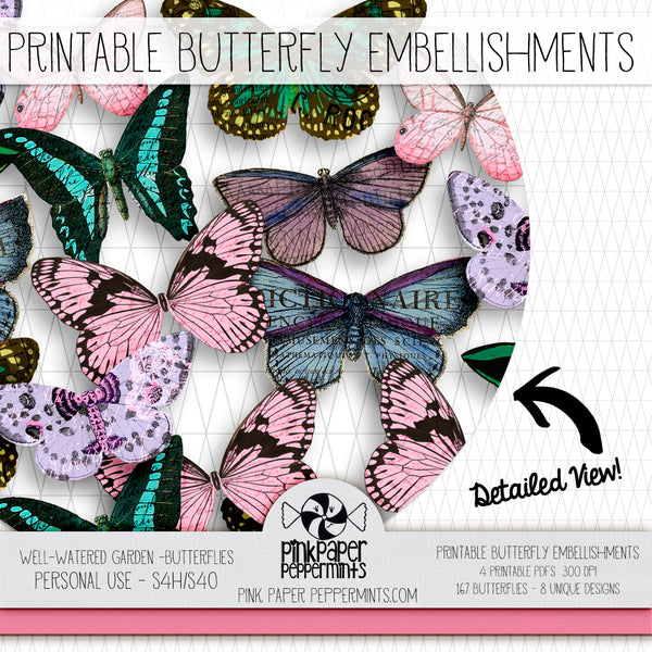 A Well Watered Garden - Printable Vintage Butterfly Embellishment Kit for Junk Journals, Bible Journaling, Faith Journals and Prayer Journals