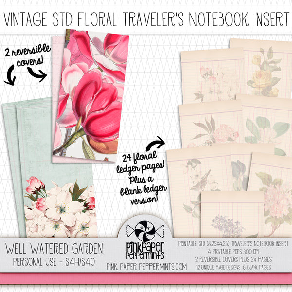 A Well Watered Garden Vintage Botanicals - Standard Vintage Printable Traveler's Notebook Insert - Perfect for Junk Journaling, Faith Journal or Prayer Journal