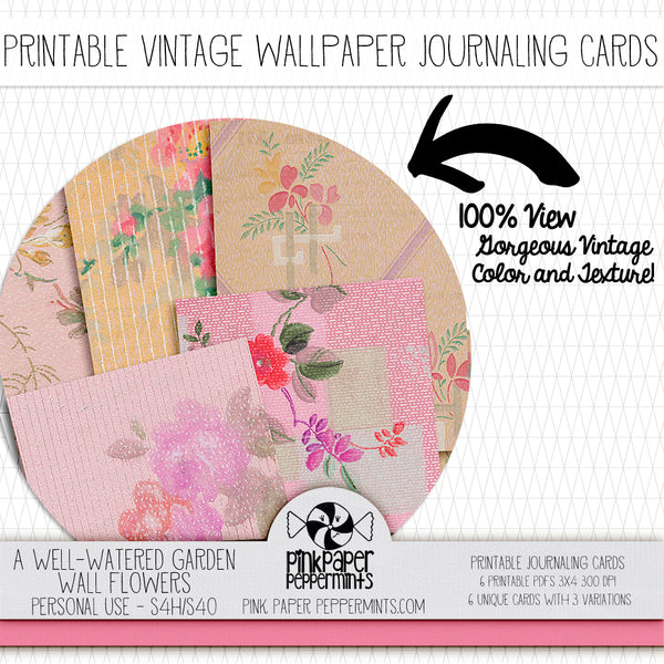 A Well Watered Garden Vintage Botanicals - Wallflowers - Printable Vintage Journaling Cards - Faith Journal Kit - Perfect for Scrapbooking, Junk Journaling, Faith Journaling, Art Journals and Prayer Journals