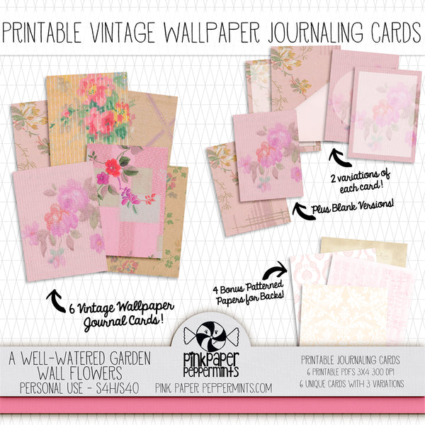 A Well Watered Garden - Wallflowers - Printable Vintage Journaling Cards - Faith Journal Kit - Perfect for Scrapbooking, Junk Journaling, Faith Journaling, Art Journals and Prayer Journals