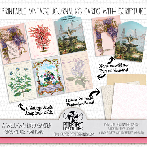 A Well Watered Garden - Printable Vintage Journaling Cards - Faith Journal Kit - Perfect for Scrapbooking, Junk Journaling, Faith Journaling, Art Journals and Prayer Journals