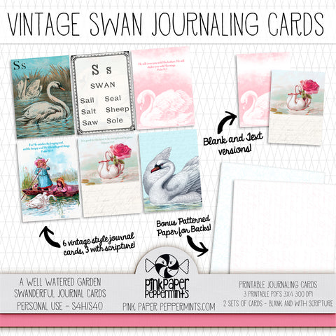 A Well Watered Garden - Swanderful - Printable Vintage Swan Journaling Cards - Faith Journal Kit - Perfect for Scrapbooking, Junk Journaling, Faith Journaling, Art Journals and Prayer Journals