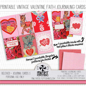 Beloved - Vintage Valentine's Journaling Cards - Pink Paper Peppermints