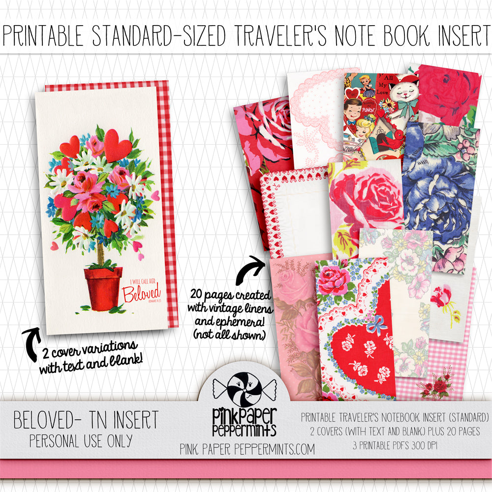 Beloved - Standard Traveler's Notebook Insert - Vintage Valentine - Pink Paper Peppermints