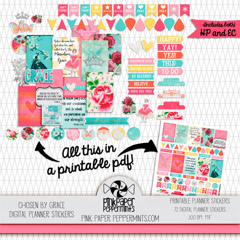 Chosen By Grace - Printable Planner Stickers