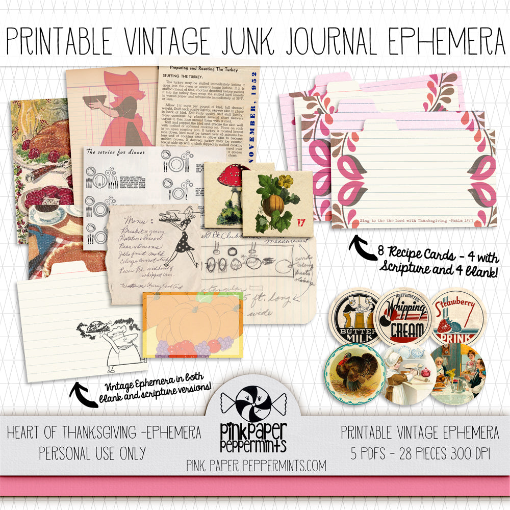 Heart of Thanksgiving - Printable Vintage Ephemera Kit - Pink Paper Peppermints