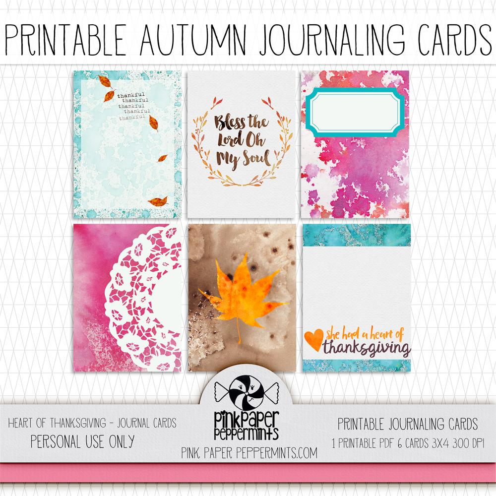 Heart of Thanksgiving - Journal Cards - Pink Paper Peppermints