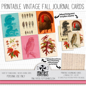 Heart of Thanksgiving - Vintage Nature Journal Cards - Pink Paper Peppermints