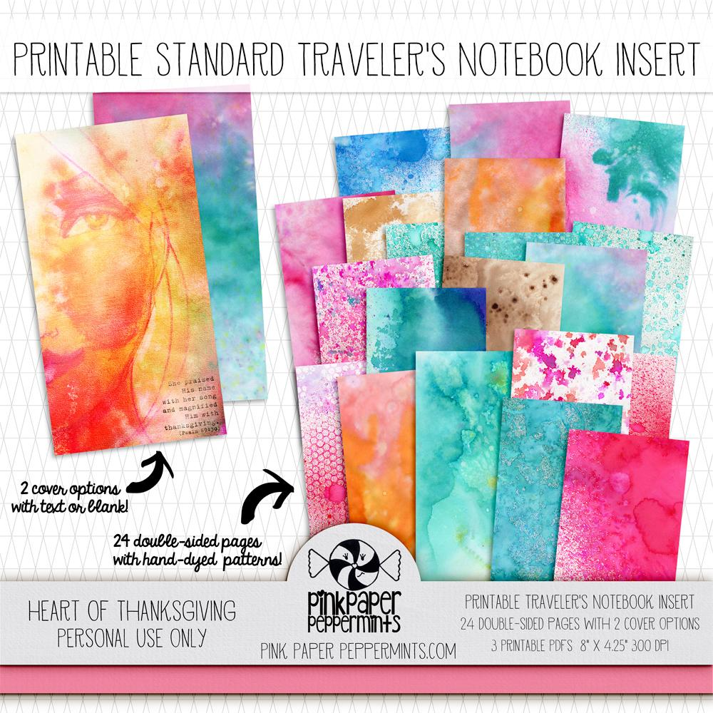 Heart of Thanksgiving - Standard Size Traveler's Notebook Insert - Pink Paper Peppermints