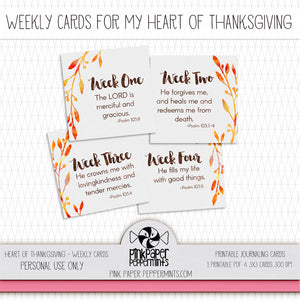 Heart of Thanksgiving Weekly Prompt Cards - Pink Paper Peppermints