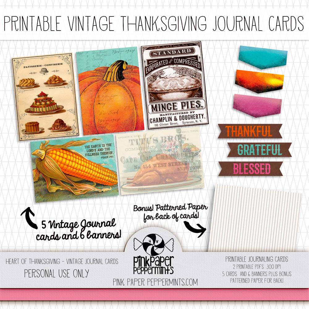 Heart of Thanksgiving - Vintage Journaling Cards - Pink Paper Peppermints