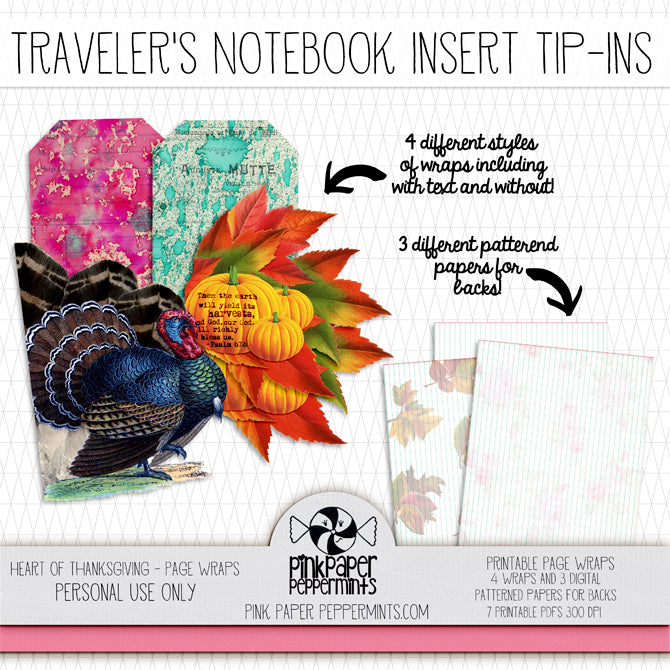 Heart of Thanksgiving - Printable Traveler's Notebook Insert Tip-Ins - Pink Paper Peppermints