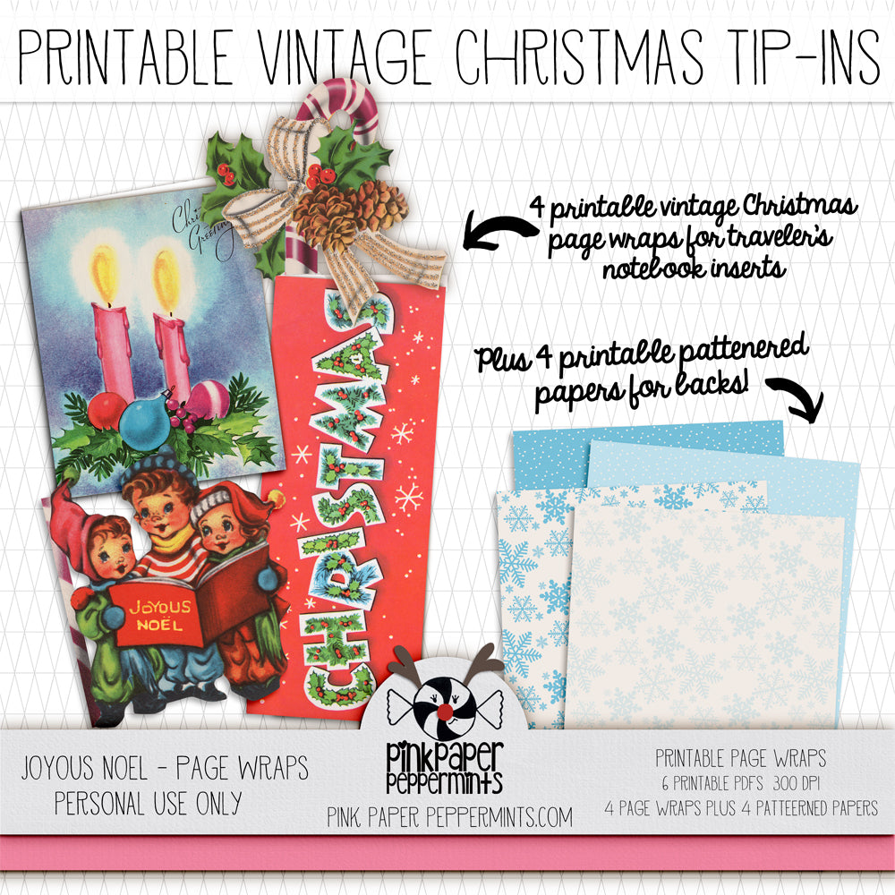 Joyous Noel - Vintage Christmas Journal Tip-Ins - Pink Paper Peppermints