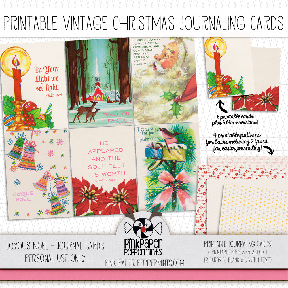 Joyous Noel - Vintage Christmas Journaling Cards - Pink Paper Peppermints