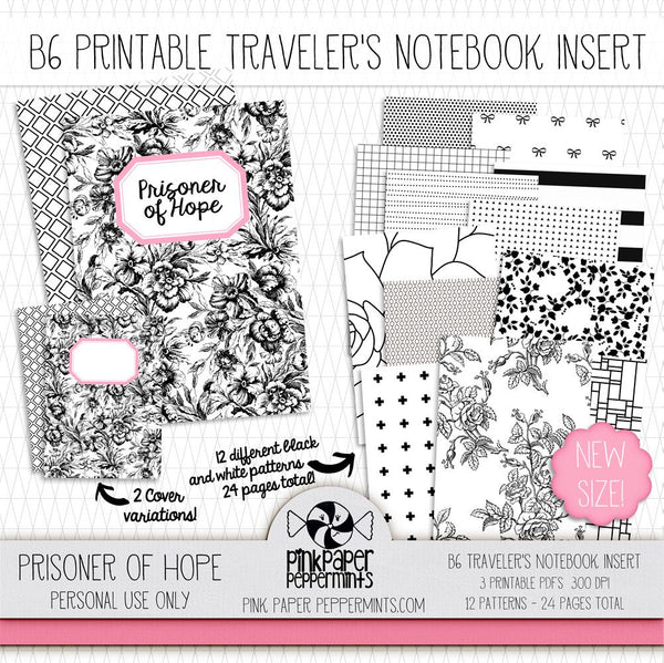 Prisoner of Hope - B6 Printable Traveler's Notebook Insert - Pink Paper Peppermints