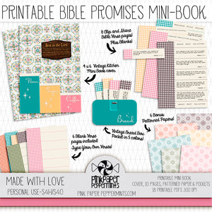 Made with Love - Printable Mini Book of Bible Promises - for traveler's notebooks, junk journals, scrapbooks