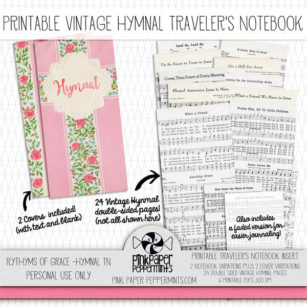 Rhythms of Grace - Vintage Hymnal Traveler's Notebook Insert - Pink Paper Peppermints