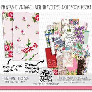 Rhythms Of Grace - Traveler's Notebook Insert - Pink Paper Peppermints
