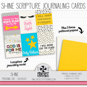 Shine - Journal Cards - Scripture cards for Bible Journaling, Faith Art, Prayer Journals and Junk Journals