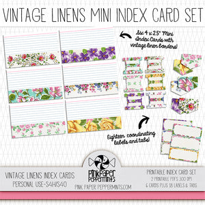 Rhythms of Grace - Vintage Linens Printable Index Cards, Tabs, & Labels for bible journaling, junk journals, scrapbooking, pocket scrapping and illustrated faith.