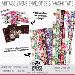 Rhythms of Grace - Vintage Linens Printable Washi Tape and Coin Envelopes