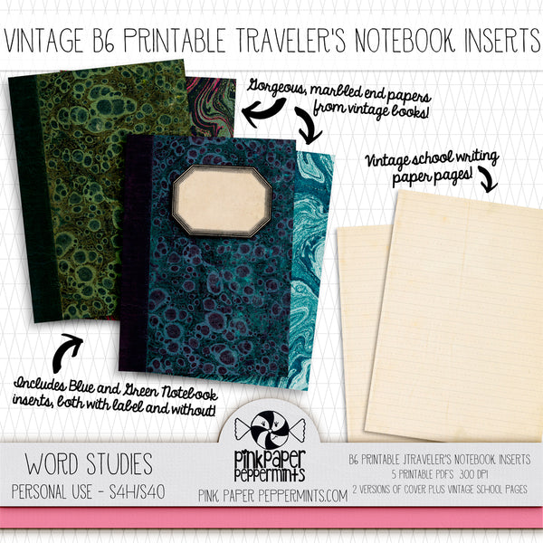 Word Studies - B6 Vintage Printable Traveler's Notebook Insert - Perfect for Junk Journaling, Faith Journal or Prayer Journal