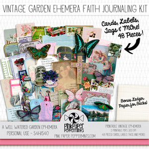 A Well Watered Garden - Printable Vintage Ephemera Kit for Junk Journals, Bible Journaling, Faith Journals and Prayer Journals
