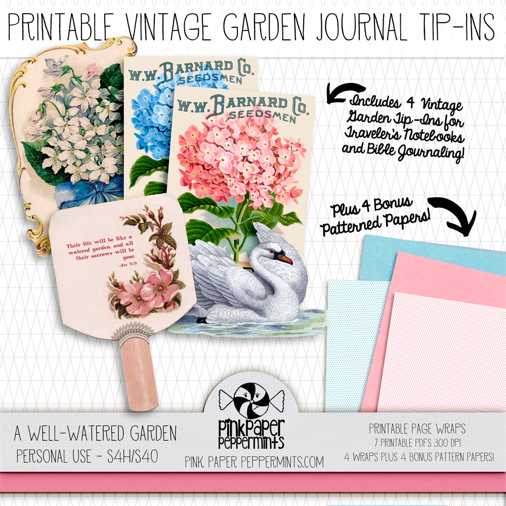 A Well Watered Garden Vintage Botanicals - Page Wraps -Vintage Garden Traveler's Notebook Insert Tip-ins - Mini Books for Bible Journaling, Faith Art, Prayer Journals and Junk Journals