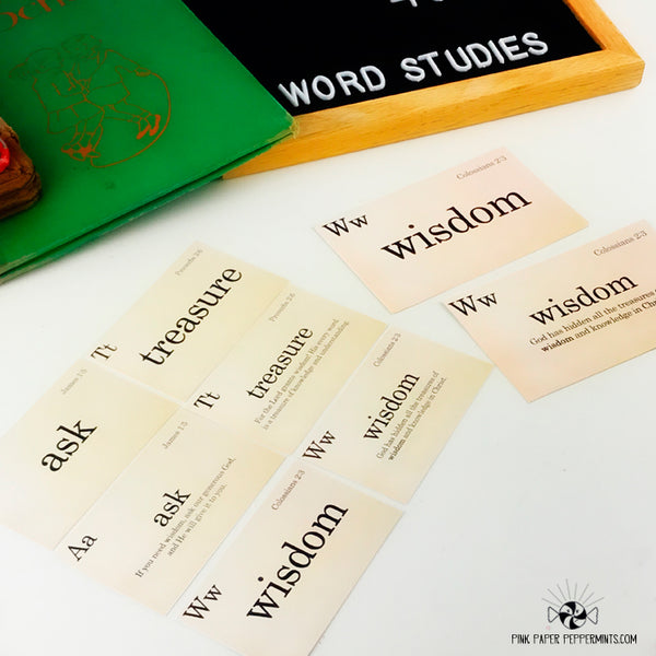 Word Studies - Scripture Flash Card Journal Cards -Vintage School themed Flashcards for Bible Journaling, Faith Art, Prayer Journals and Junk Journals