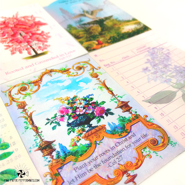 A Well Watered Garden - Vintage Botanicals, Printable Vintage Journaling Cards - Faith Journal Kit - Perfect for Scrapbooking, Junk Journaling, Faith Journaling, Art Journals and Prayer Journals