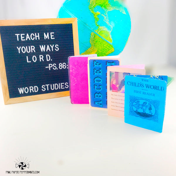 Word Studies - Page Wraps -Vintage School Traveler's Notebook Insert Tip-ins - Mini Books for Bible Journaling, Faith Art, Prayer Journals and Junk Journals