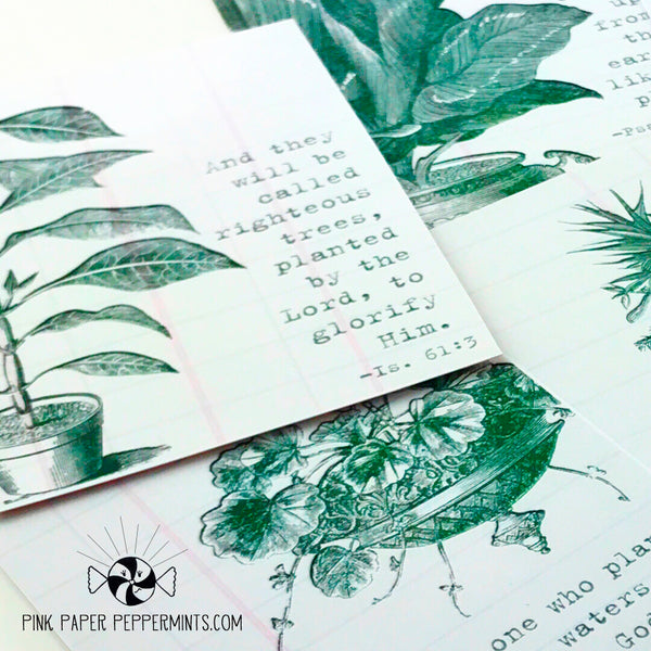 Plant Lady - Vintage Plant and Garden Themed Journaling Card Tip-in for Bible Journaling, Scrapbooking and Junk Journals
