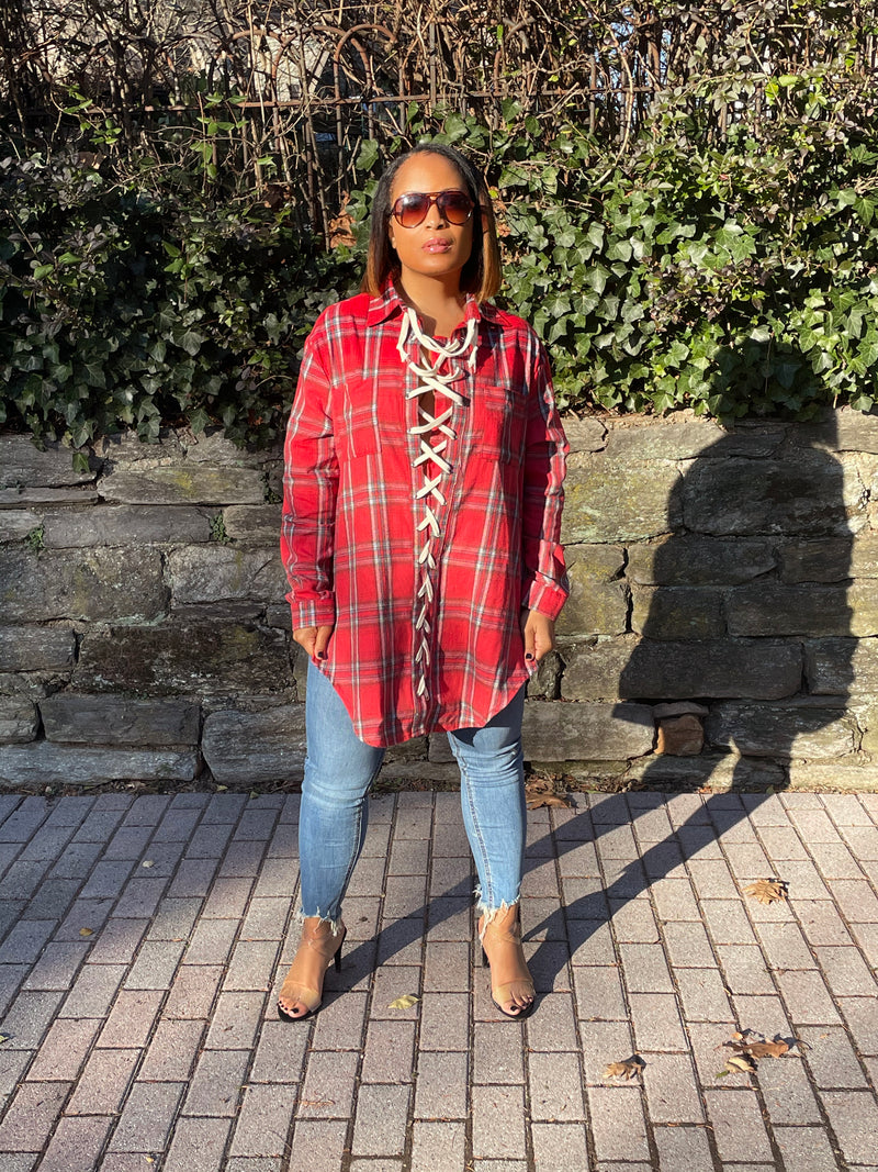 All Tied Up Oversized Flannel Shirt