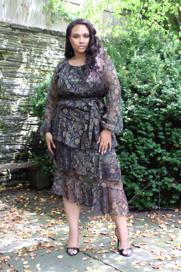 BNB Curves Wild At Heart Plus Tiered Ruffle Dress