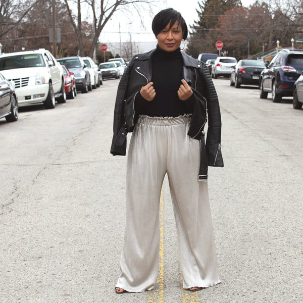 Metallic Glam Wide-Legged Pants