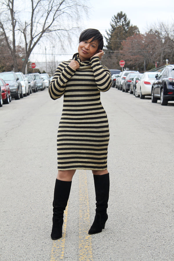 Metallic Striped Sweater Dress
