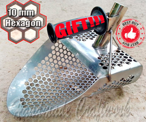 *ALLIGATOR -10 v2* Hexahedron Holes Sand Scoop 2.0mm Steel/10mm Holes/2 Mount Options +Handle