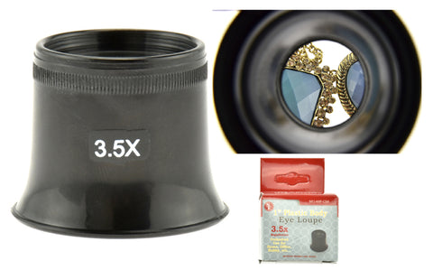 "3.5x 1"" Plastic Body Eye Loupe, Optical Glass Lens"