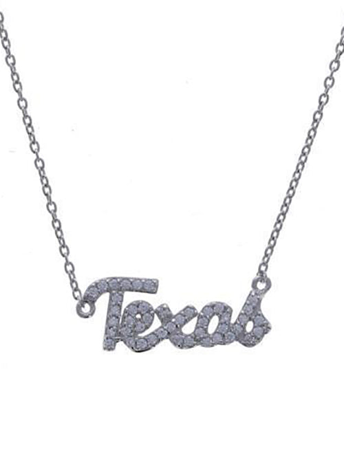 "CZ ""Texas"" Sterling Silver Necklace"