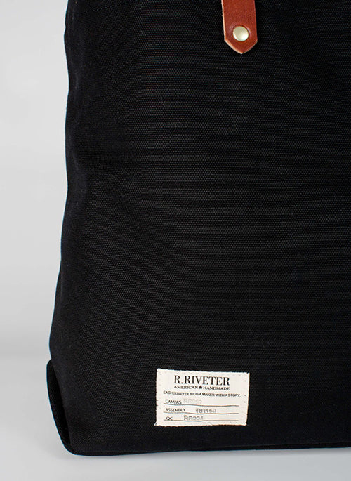 R.Riveter Wilson Signature Black Canvas + Brown Leather Tote