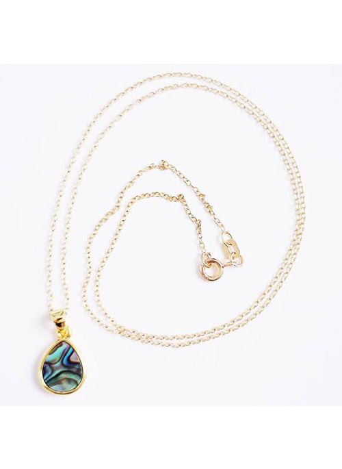 Abalone Teardrop Pendant in Gold