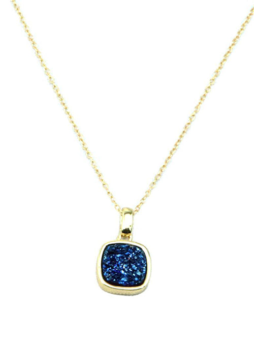 Christy Square Druzy Necklace in Gold