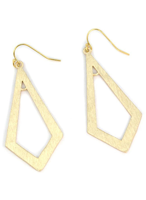 Brushed Gold Triangle Earrings