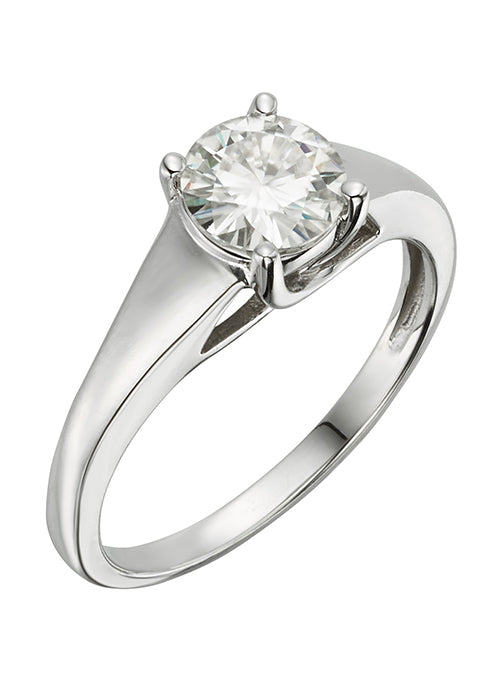 Forever Brilliant Moissanite 1.00ct Solitaire Ring in 14k White Gold