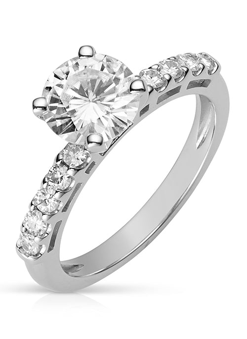 Forever Brilliant Moissanite 1.80ct Side Stone Ring in 14k White Gold
